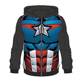 Bioworld Mens Marvel Comics Captain America in voller Länge Reißverschluss Hoodie XL