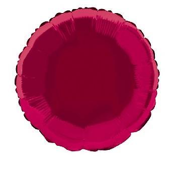 Foil Balloon Round Solid Metallic Burgundy