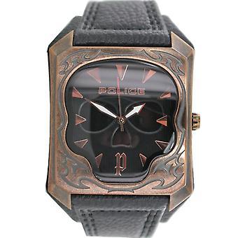 Police mens watch wristwatch leather analog PL. 14252JSQR/02