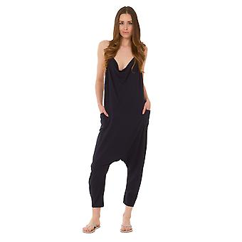 Jersey Jumpsuit - Navy Drop Crotch Lightweight Stretch Relaxed Fit Playsuit