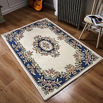 Royal indien Rectangle bleu crème tapis couvertures traditionnelles