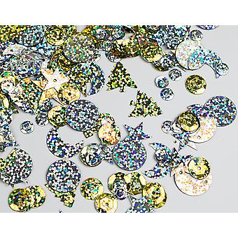 20g Assorted Gold & Silver Holographic Sequins with Holes for Pins