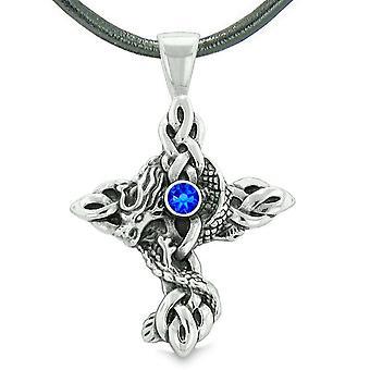 Brand Dragon beskyttelse Celtic knob tværs beføjelser magiske Amulet Royal blå krystal vedhæng halskæde
