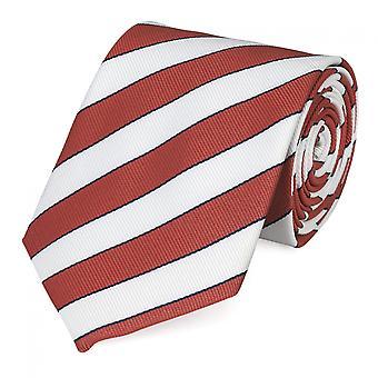 Schlips Krawatte Krawatten Binder 8cm weiß rostrot blau gestreift Fabio Farini