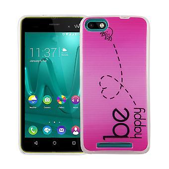 Handy Hülle für Wiko Lenny 3 Cover Case Schutz Tasche Motiv Slim Silikon TPU Be Happy Pink