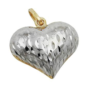 rhodium-plated heart pendant gold 375 pendant, heart bicolor, 9 KT GOLD