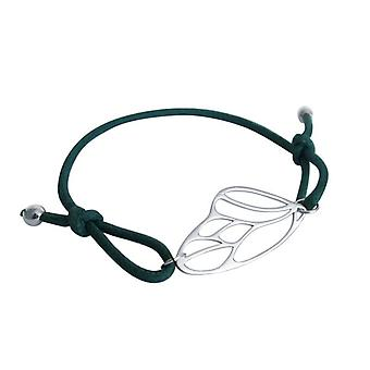 Armband - knoop - vlinder vleugels - 925 zilver - groen - grootte verstelbaar