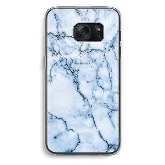Samsung Galaxy S7 Transparent fodral (Soft) - blå marmor