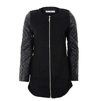 Neue Damen intelligente lange Glittery gesteppte Sleeve Womens schwarz Creme Fell Jacke