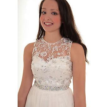 Panie bez rękawów klejnot kwiatowy siatki szyfonu pokryte Maxi ślub suknia wieczorowa