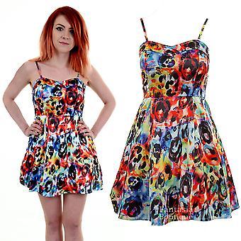 Damen Bustier Skater Flare dünne Riemen Multi Color Floral Print Damen Kleid