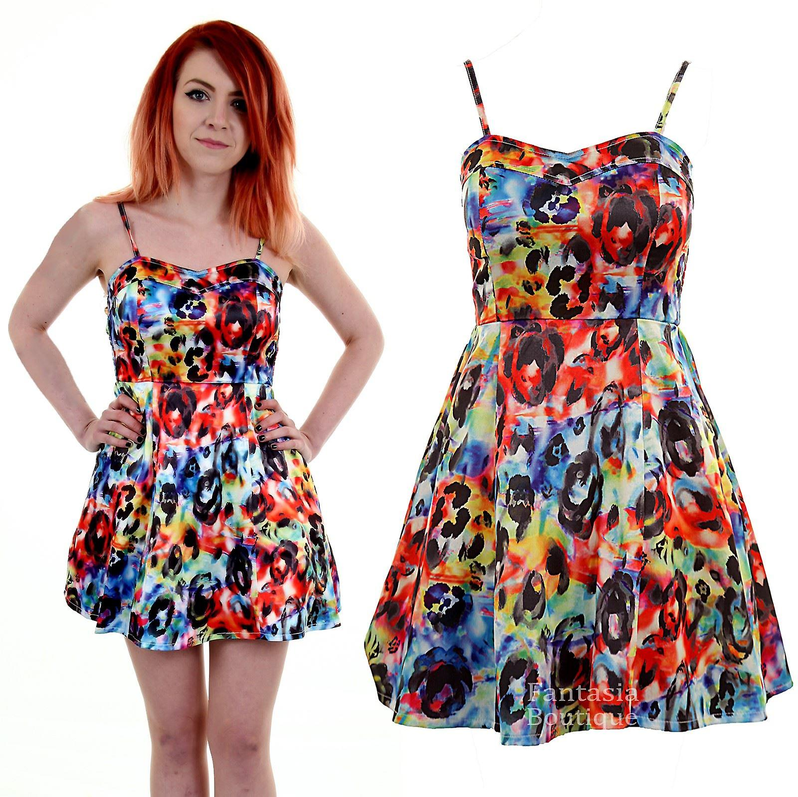 Ladies Bustier Skater Flare Thin Strap Multi Colour Floral Print Women's Dress