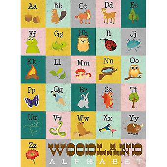 Woodland alfabet Poster Print przez Josefina