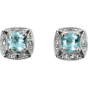Elements Gold Kaleidoscope 9ct White Gold Aquamarine and Diamond Twist Bale Stud Earrings - Light Blue/White Gold