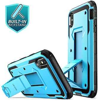 iPhone XR Case, [Armorbox] [Built in Screen Protector]  [Heavy Duty Protection] [Kickstand] Case (2018 Release) (Blue)