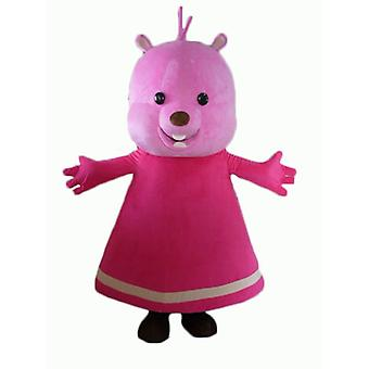 mascot Teddy SPOTSOUND pink, with a dress