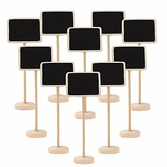 TRIXES 10PCS Rectangle Table Chalkboards on Stand Personalised Rustic Decorative Table Placemats