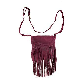 本物のスエード革縁ショルダー バッグ w/三つ編みアクセント