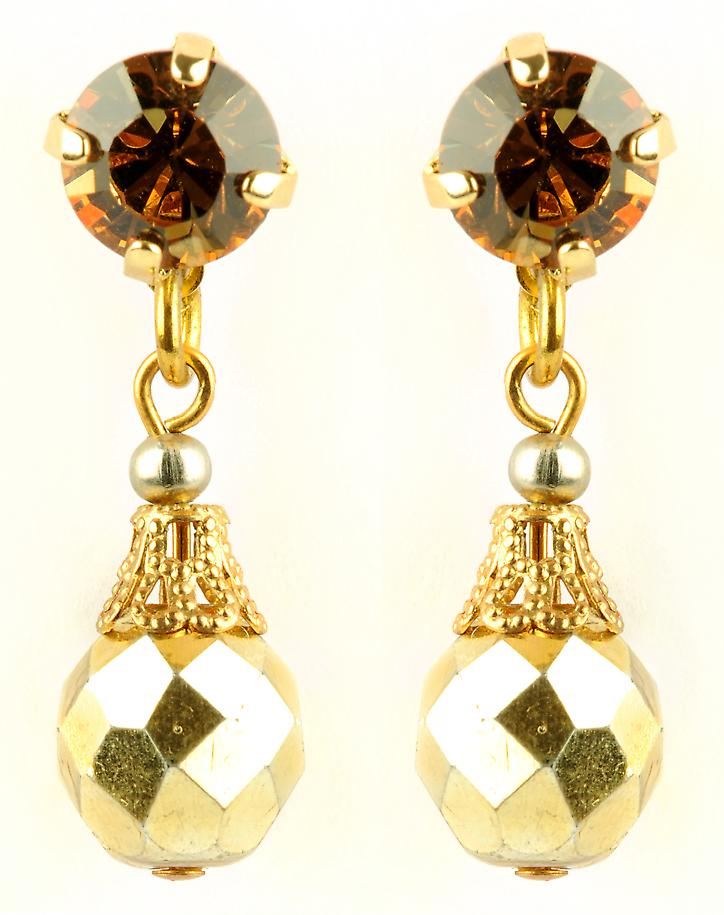 Waooh - Fashion Jewellery - WJ0683 - On Earrings with Swarovski Strass Doré - Frame Colour Gold