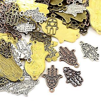 Pakke 30 gram detaljer i flere farger tibetanske 5-40mm hånd sjarm/anheng blanding HA13195