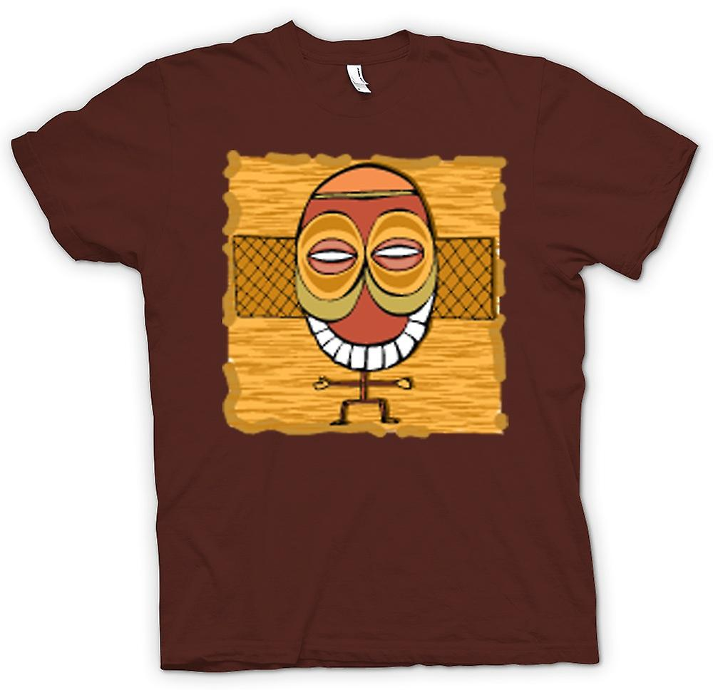 Mens T-shirt - Zulu Tribal Mask Drawing