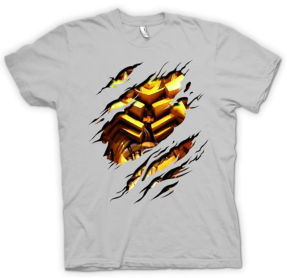 Mens T-shirt - Bumble bee Ripped Design - Transformers Inspired