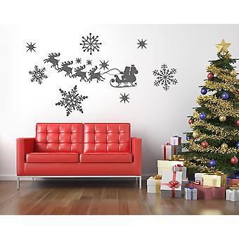 Reindeer Santa Sleigh Snowflakes Wall Sticker