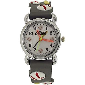 Relda Analogue Children Boy's 3D Baseball Design Grey Silicone Strap Watch REL85