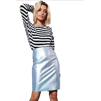 Lovemystyle Metallic Silver Pencil Skirt With Back Zip