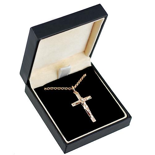 9ct Rose Gold 30x18mm solid block Crucifix Cross with belcher Chain 18 inches