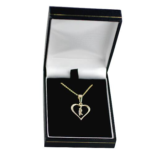 9ct Gold 18x18mm initial K in a heart Pendant with a cable Chain 16 inches Only Suitable for Children