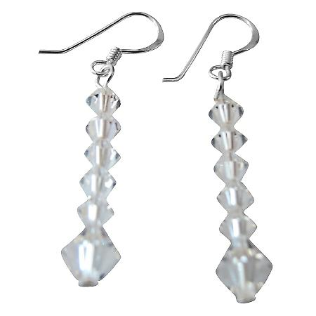 Sparkling Fashionable Swarovski Clear Crsytals Silver Earrings