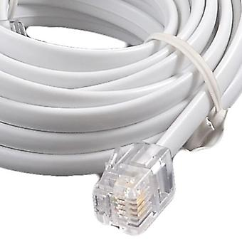 10m RJ11 - RJ11 4 Pin Fully Wired High Speed Broadband Internet ADSL Cable White