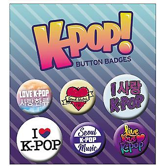 K-pop print button set 6 pieces, from 100% Tin, blister packaging.