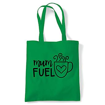 Mum Fuel Tea Coffee Love Funny Tote | Reusable Shopping Cotton Canvas Long Handled Natural Shopper Eco-Friendly Fashion | Gym Book Bag Birthday Present Gift Him Her | Multiple Colours Available