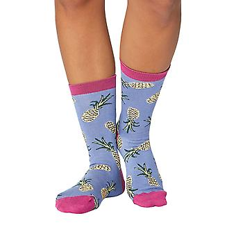 Pineapple women's soft bamboo crew socks in sea blue | By Thought