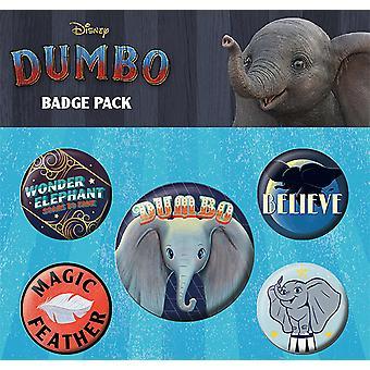 Disney button set Dumbo, printed 2.5 cm 3.8 cm, sheet, 1 x Ø 4 x Ø.