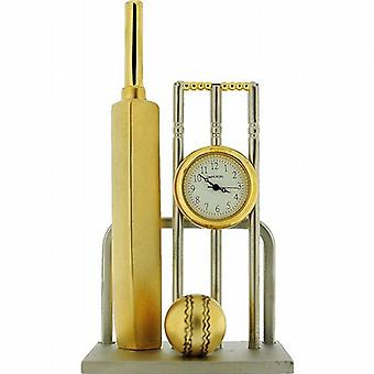 Miniature Two Tone Cricket Bat  Ball & Wickets Novelty Collectors Clock IMP1083