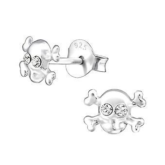 Sterling Silver and Crystal Skull Stud Earrings