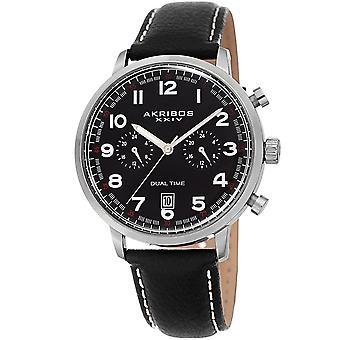 Akribos XXIV Men's AK1023 Dual-Time Comfortable Glove Style Leather Strap Watch  AK1023BK