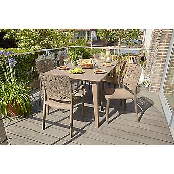 Allibert Lima table de jardin 157x98xH74 cm-cappuccino