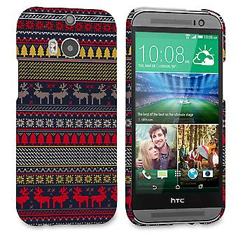 Caseflex HTC One M8 Reindeer Christmas Jumper Hard Case Navy Yellow