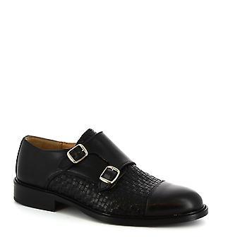 Leonardo Shoes Hombres doble monjes dobles mocasines negro cuero de becerro