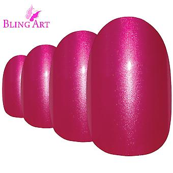 False nails by bling art red glitter oval medium fake acrylic 24 tips with glue