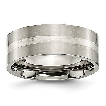 Titanio 925 Sterling Argento Spazzolato Flat Band Inlay 8mm Satin Band Anello - Dimensione anello: da 6 a 13