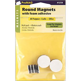 Pro Mag Round Foam Backed Magnets 8 Pkg 4 .5
