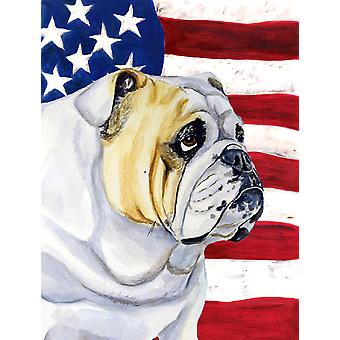 USA American Flag with English Bulldog Flag Canvas House Size