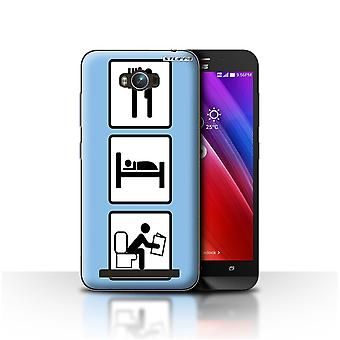 STUFF4 Case/Cover for Asus Zenfone Max ZC550KL/Poop/Blue/Eat/Sleep