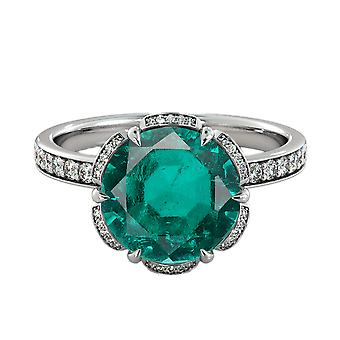 Emerald 3.50 ctw Ring with Diamonds 14K White Gold Flower Vintage Halo
