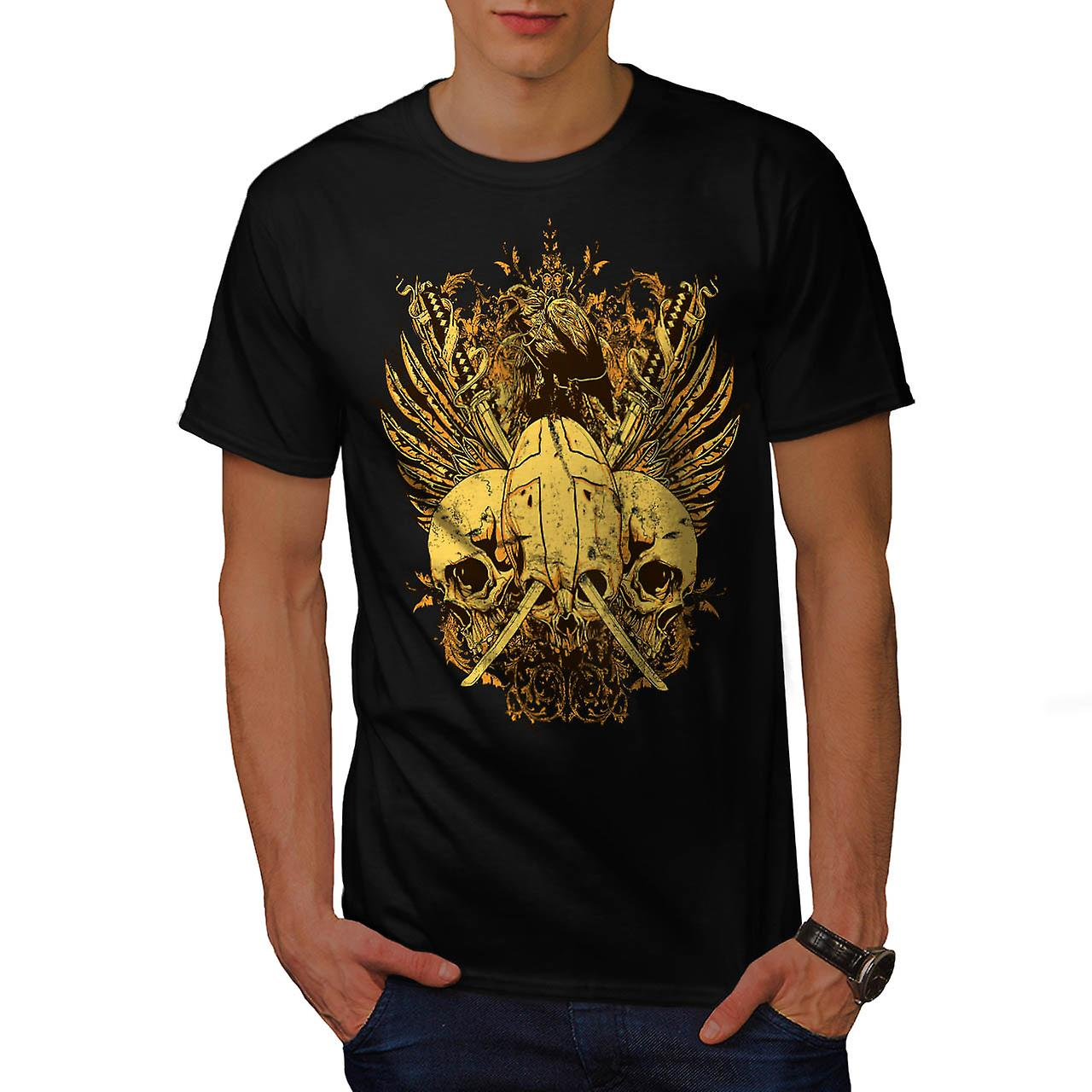 T-shirt nero teschio spada lotta ascia morte Bird uomini | Wellcoda